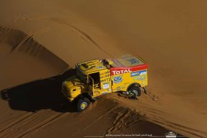monaco to dakar rally truck in sand dunes